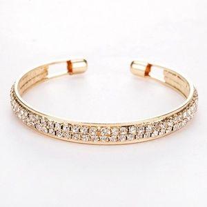 Jewelry - Pave Crystal Platinum Open Cuff Bangle Bracelet